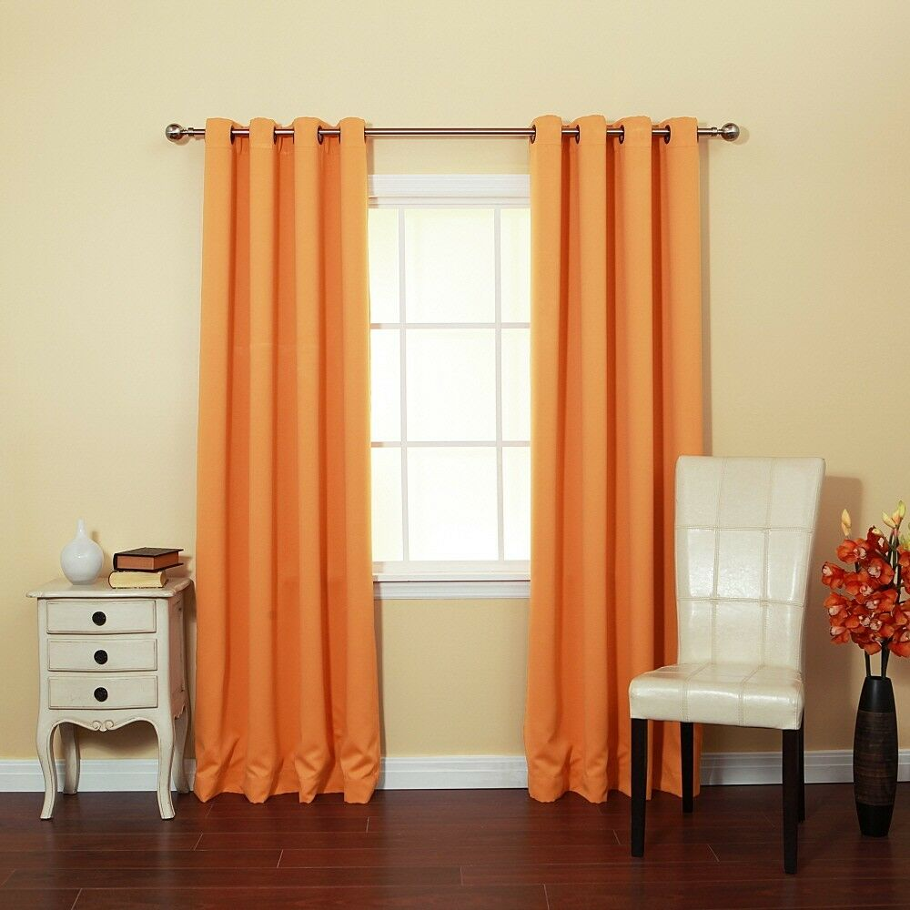 Basic Solid Thermal Insulated Blackout Curtains Pair 104w X 84l Orange Ebay