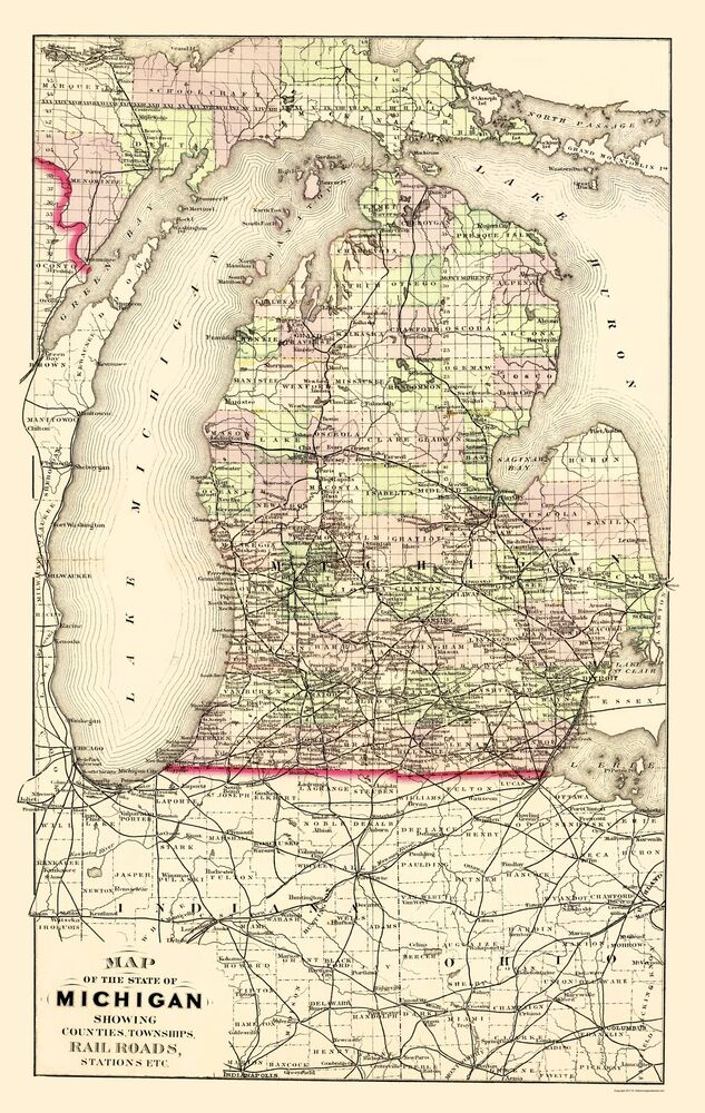 Old State Map - Michigan with Portion of Upper Peninsula 1873 - 23 on