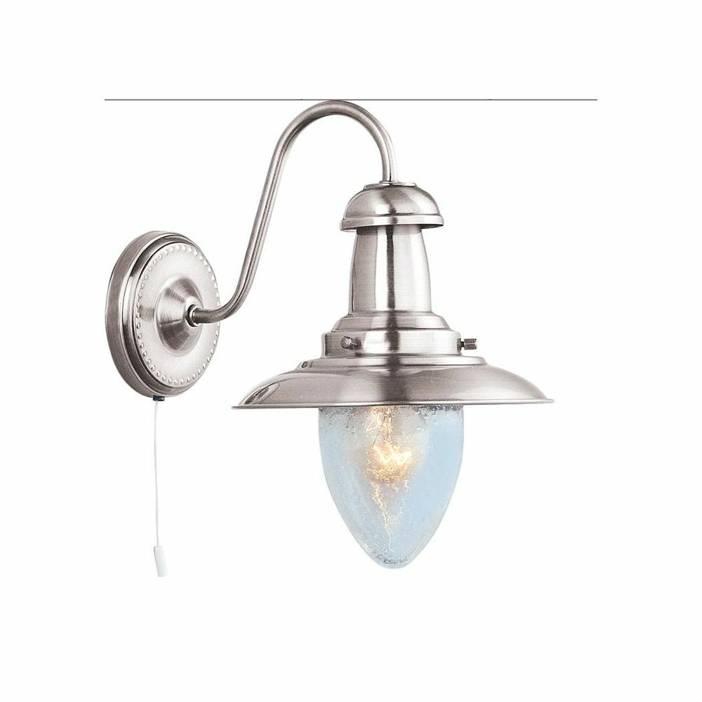 Dark Silver Wall Lights : Searchlight Lighting 5331-1SS Fisherman Satin Silver Wall Light eBay