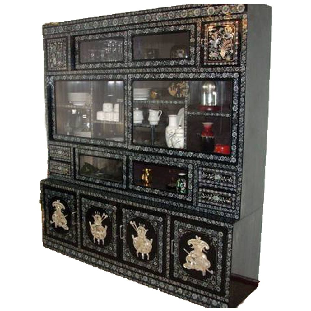 China cabinet furniture asian antique inlaid mother of for Antique asian cabinet