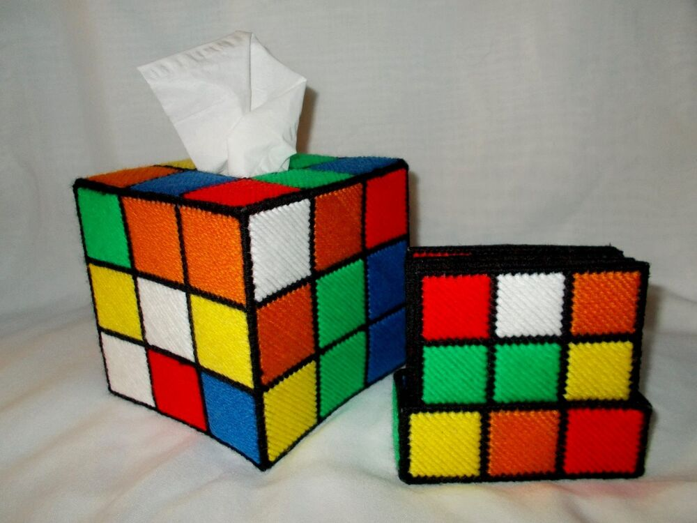 plastic canvas rubik 39 s cube tissue box coaster set as. Black Bedroom Furniture Sets. Home Design Ideas