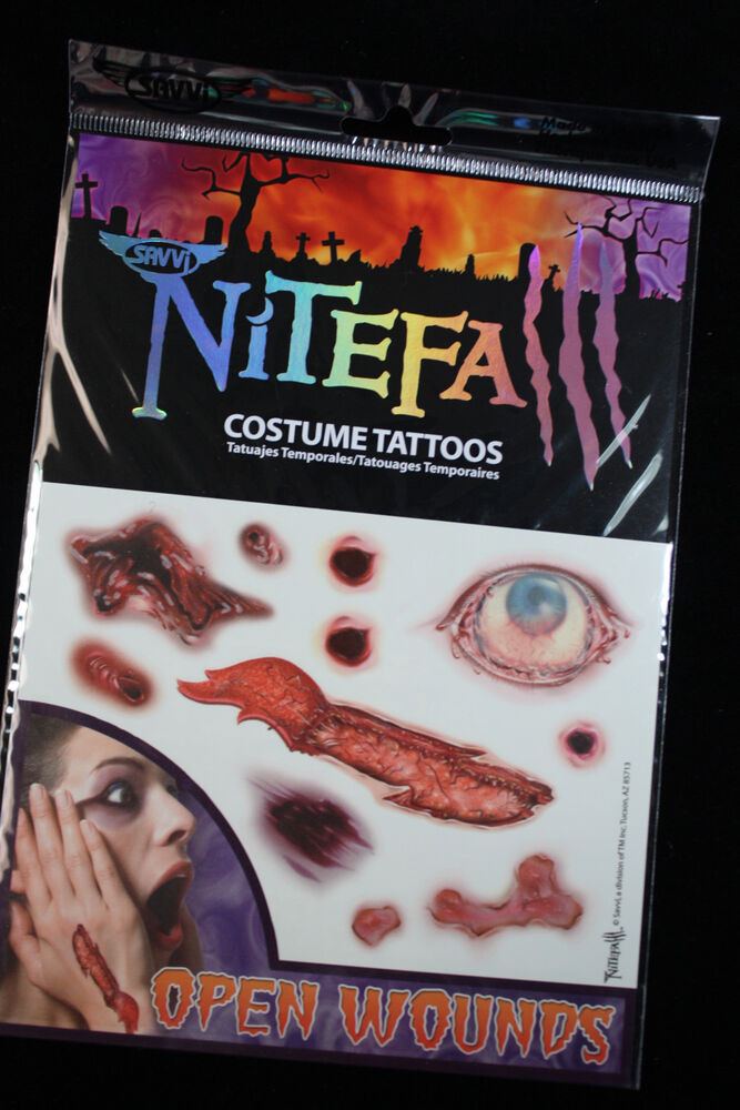 Realistic bloody temporary fake tattoos horror zombie for Fake wound tattoos