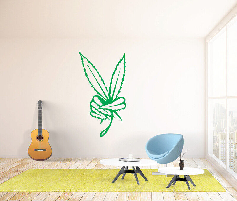 cannabis wall decal sticker vinyl decor mural bedroom