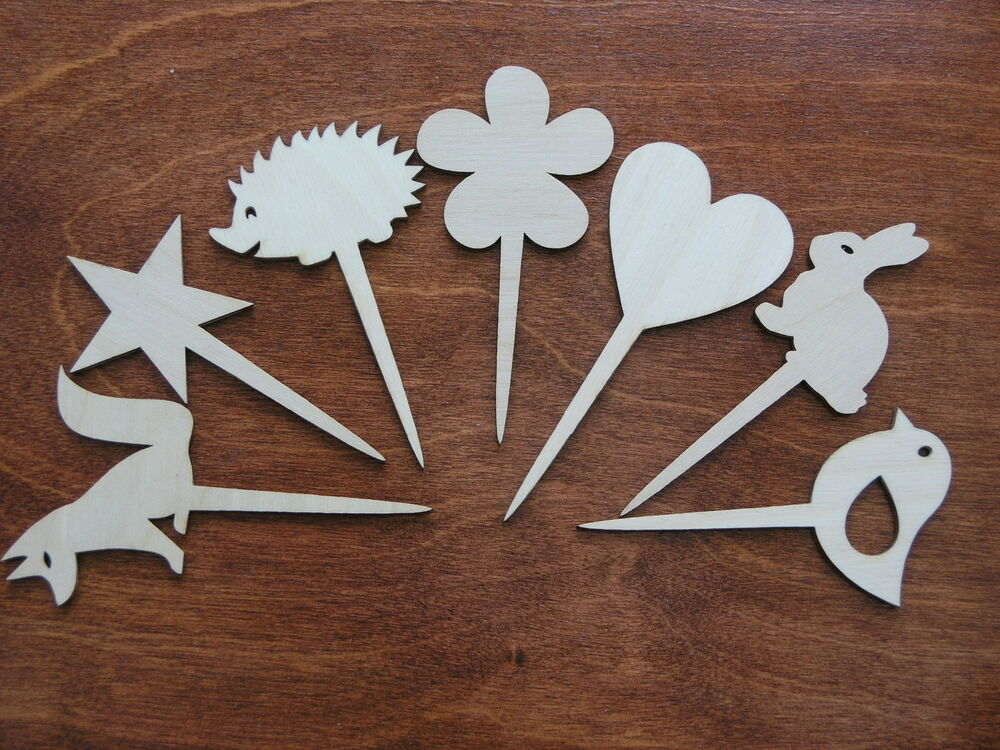 Wooden shapes on a stick decoration for crafts ornaments for Wood cutouts for crafts