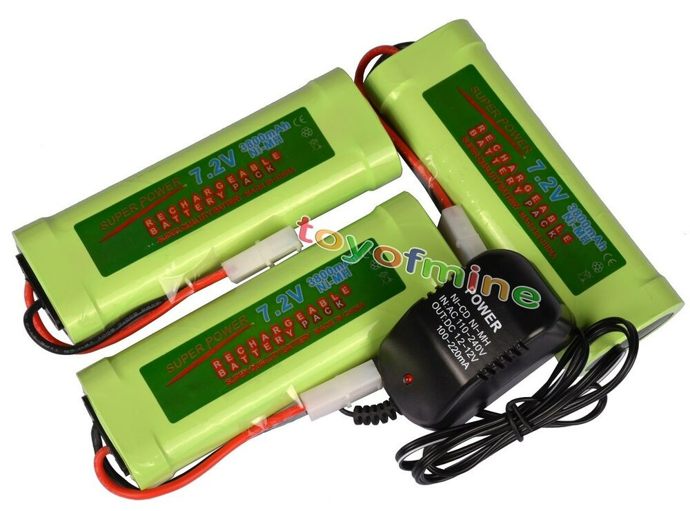 3x 7 2v 3800mah ni mh rechargeable battery pack charger ebay. Black Bedroom Furniture Sets. Home Design Ideas