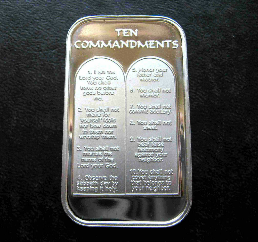 1oz Ten 10 Commandments 999 Pure Silver Bar Unc