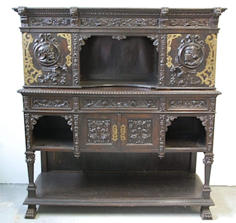 cr dence henry ii desserte renaissance meuble ancien buffet sculpt chateau xix ebay. Black Bedroom Furniture Sets. Home Design Ideas