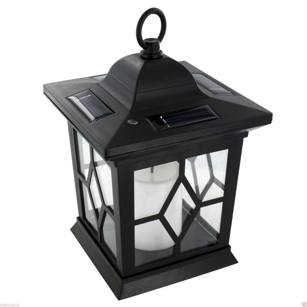 Patio Table Lights Uk: Garden Solar Powered LED Candle Table Lantern Hanging