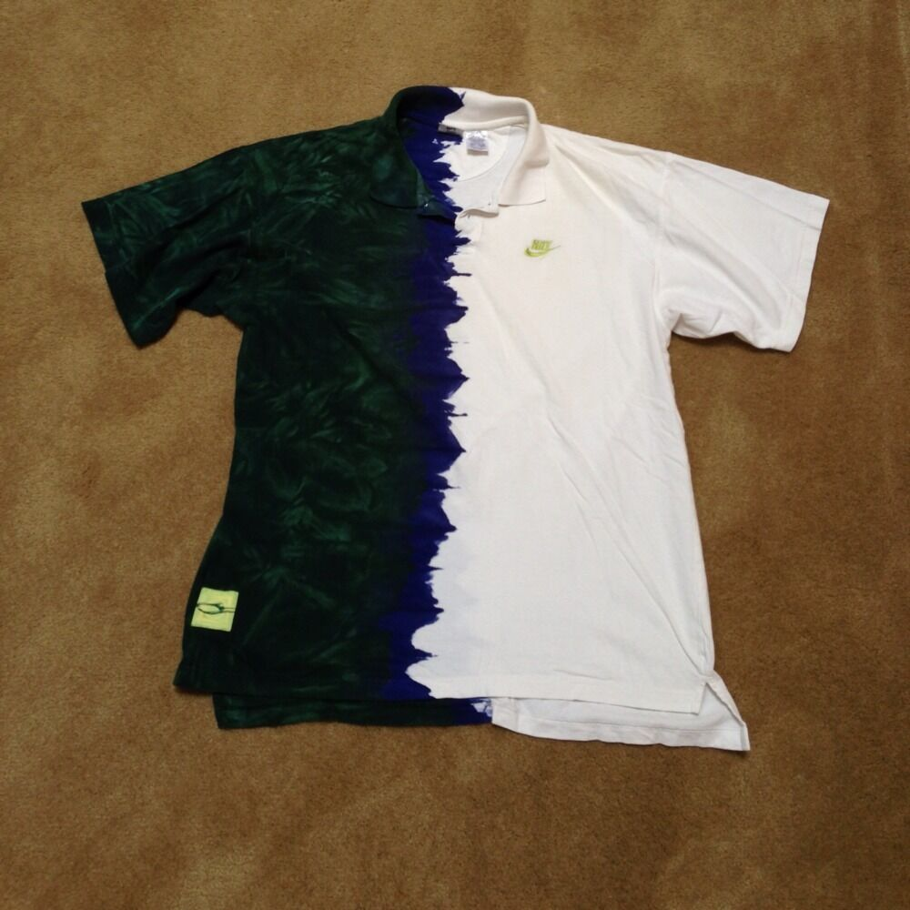 Vintage andre agassi challenge court nike tennis shirt for Nike tie dye shirt and shorts