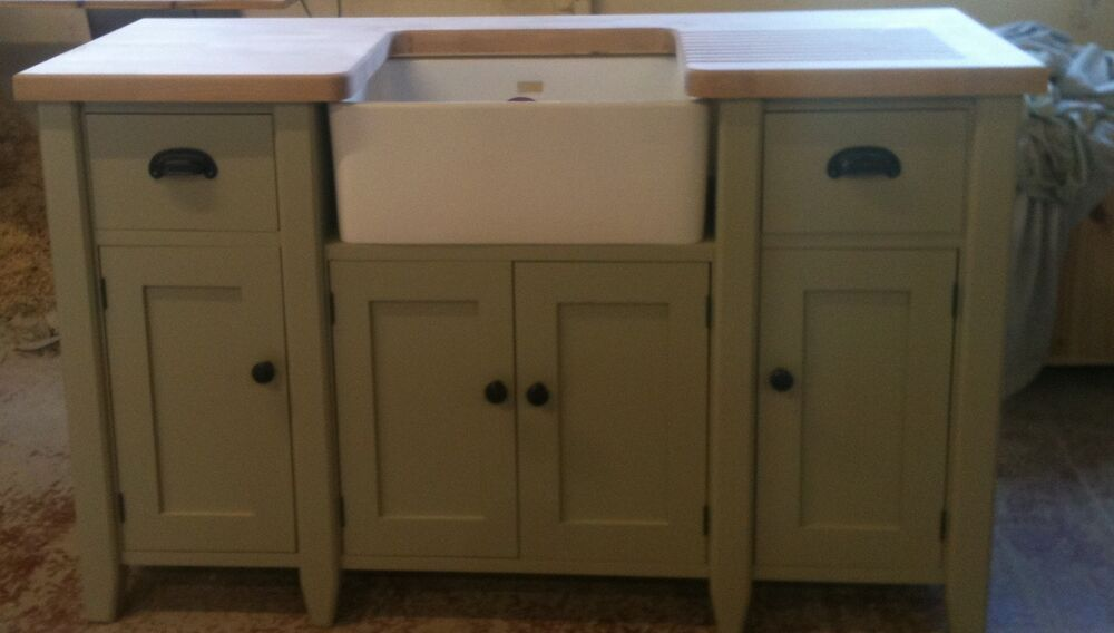 Free Standing Kitchen Sink : Painted Free standing Kitchen Belfast sink unit housing and cupboard ...