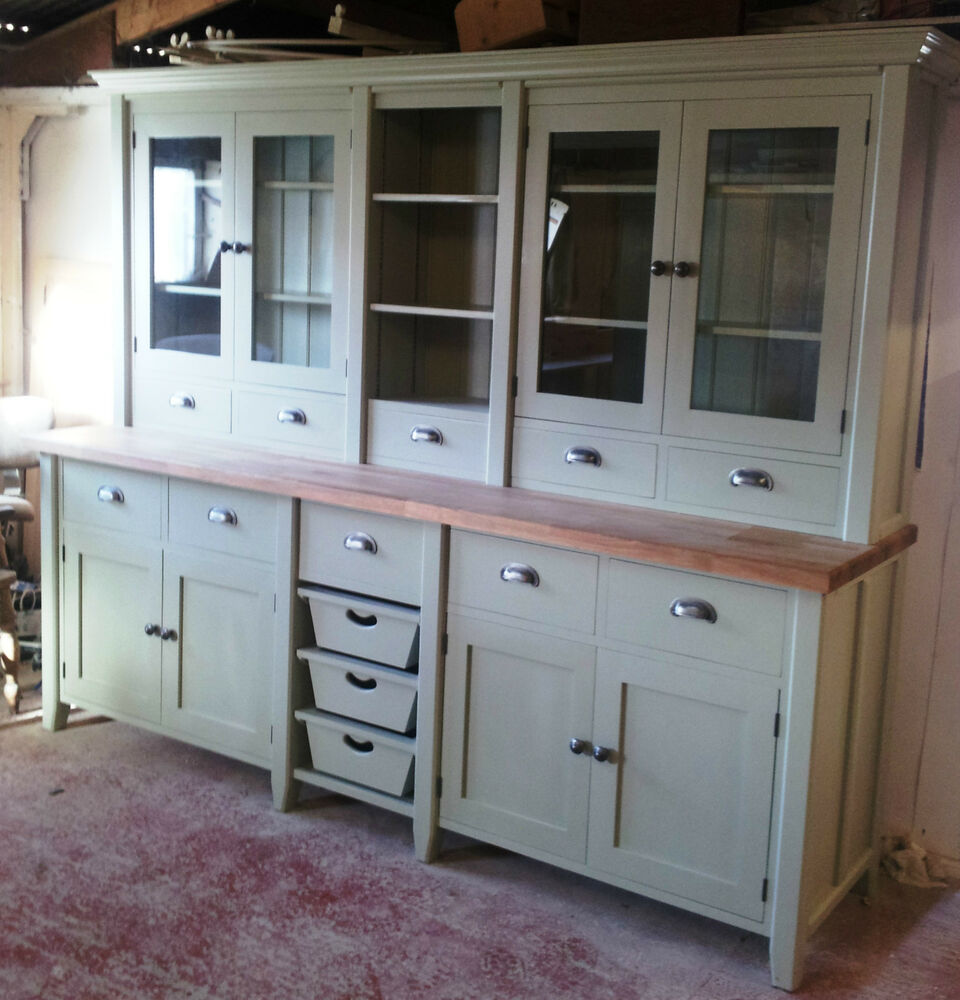 Painted free standing kitchen large basket dresser unit ebay for Kitchen cabinets ebay