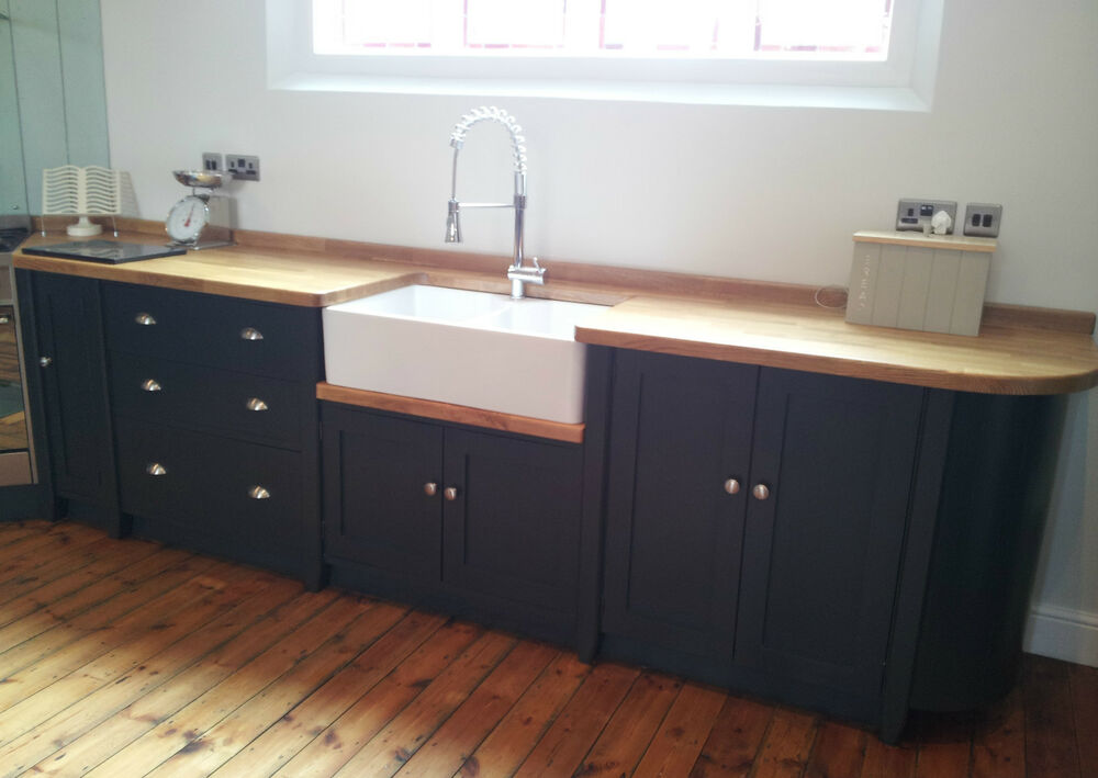 Painted free standing kitchen belfast sink unit cupboards for Vintage kitchen units uk
