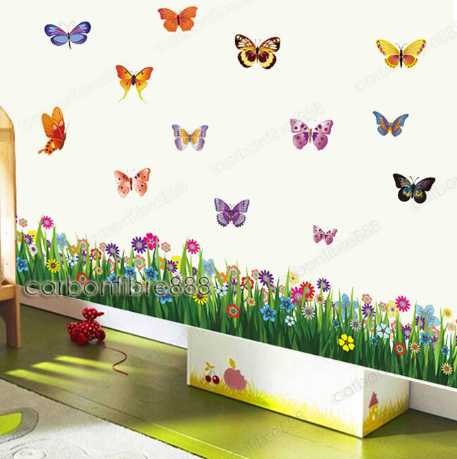 Large colorful butterflies grass wall stickers art decal for Butterfly wall mural