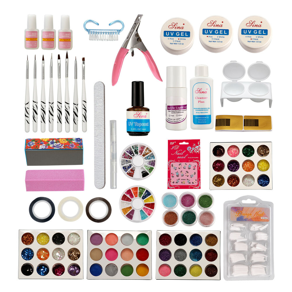Nail Art Tool Kit: Pro Acrylic Liquid Nail Art Brush Glue Glitter Powder UV