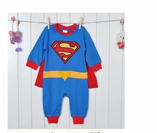 baby toddler fancy dress party superman costumes playsuit size 3 24months ebay. Black Bedroom Furniture Sets. Home Design Ideas