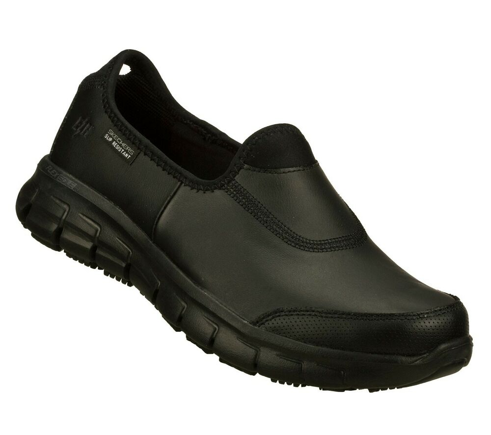 76536 black skechers shoes memory foam work flex