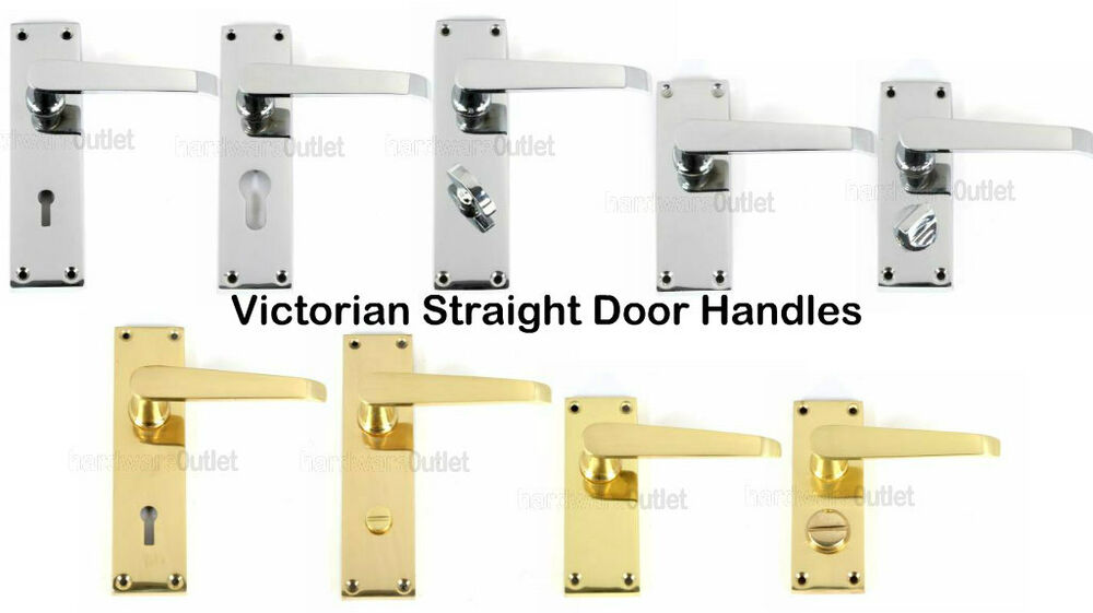 Victorian straight door handles lock latch bathroom for Brass bathroom door handles with lock