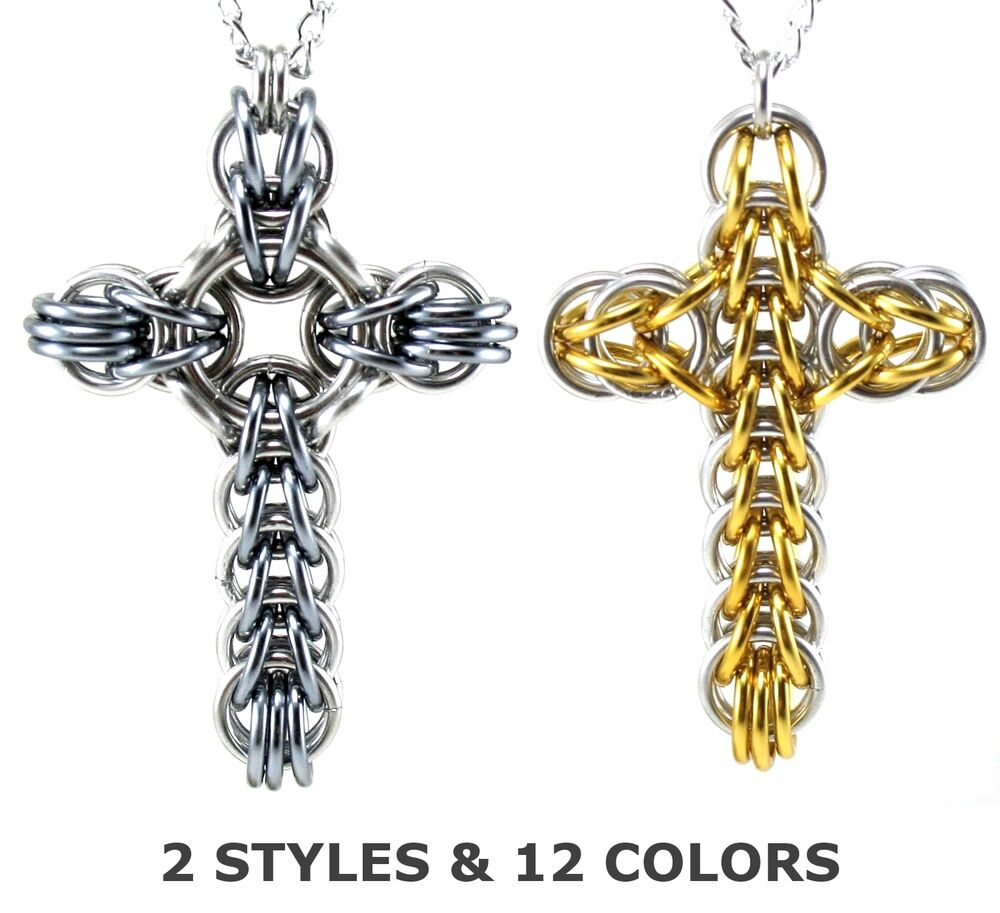 classic or celtic large chainmail metal cross necklace. Black Bedroom Furniture Sets. Home Design Ideas