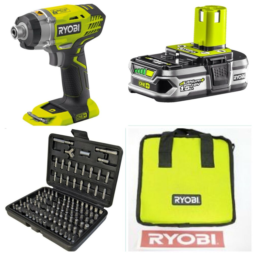 ryobi 18v impact driver complete kit 100 piece security set ebay. Black Bedroom Furniture Sets. Home Design Ideas