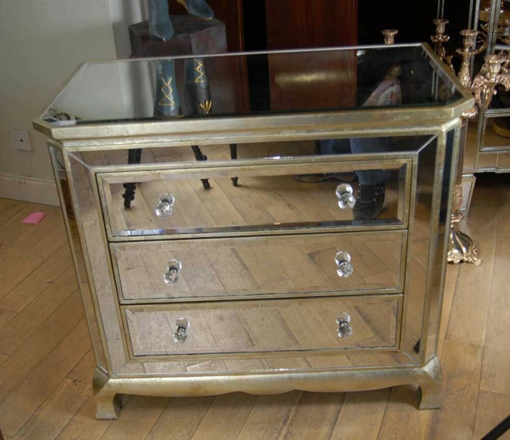 Mirrored Cabinet: Art Deco Mirrored Italian Chest Drawers Commode Cabinet