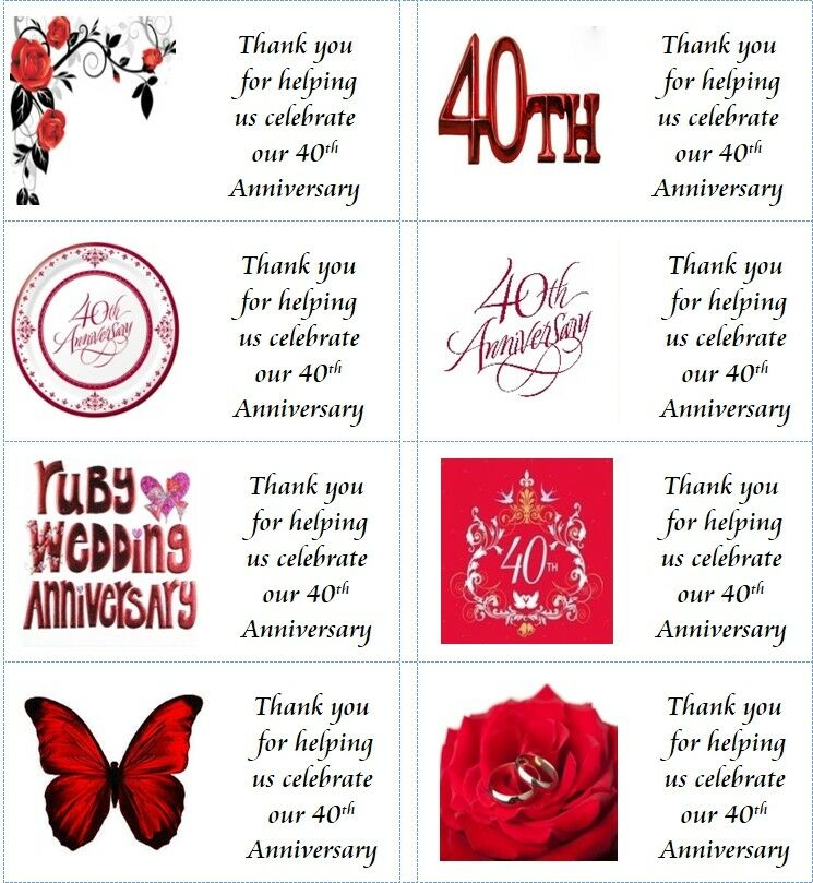 40 X Personalised 40th Wedding Anniversary Labels Stickers Party Cake Sweet Bag Ebay
