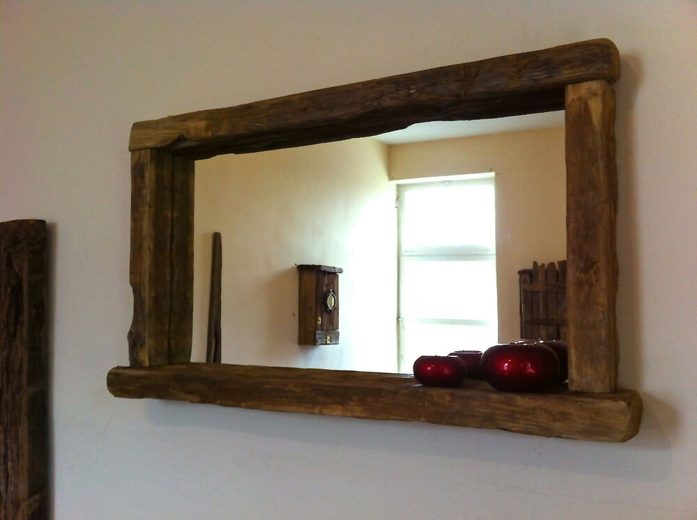 Reclaimed wood rustic farmhouse mirror with candle shelf for Miroir antique en bois