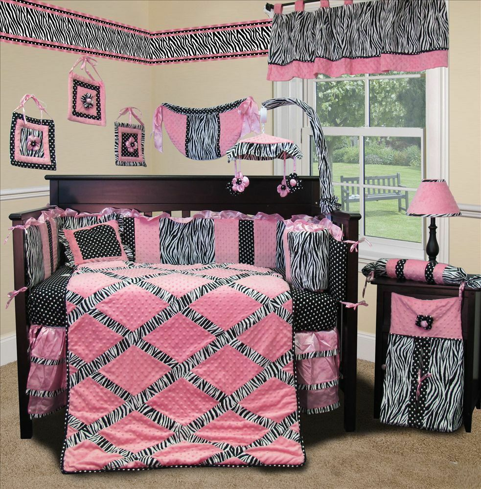 Baby Boutique - Pink Minky Zebra - 15 pcs Nursery Crib ...