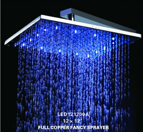 12 Led Solid Chrome Color Changing Square Mixer Rain