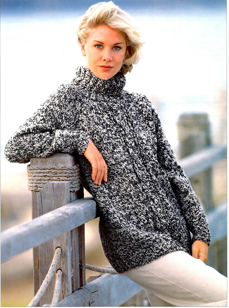 Chunky Knit Sweater Pattern : womens chunky tunic sweater knitting pattern 99p eBay