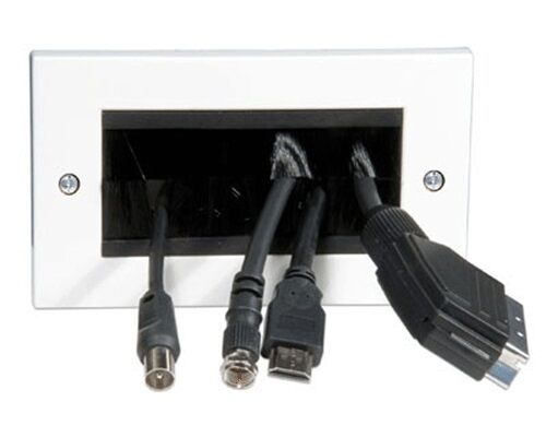 Tv wall socket brush unit for scart and hdmi cables flat for Cable plat passe fenetre