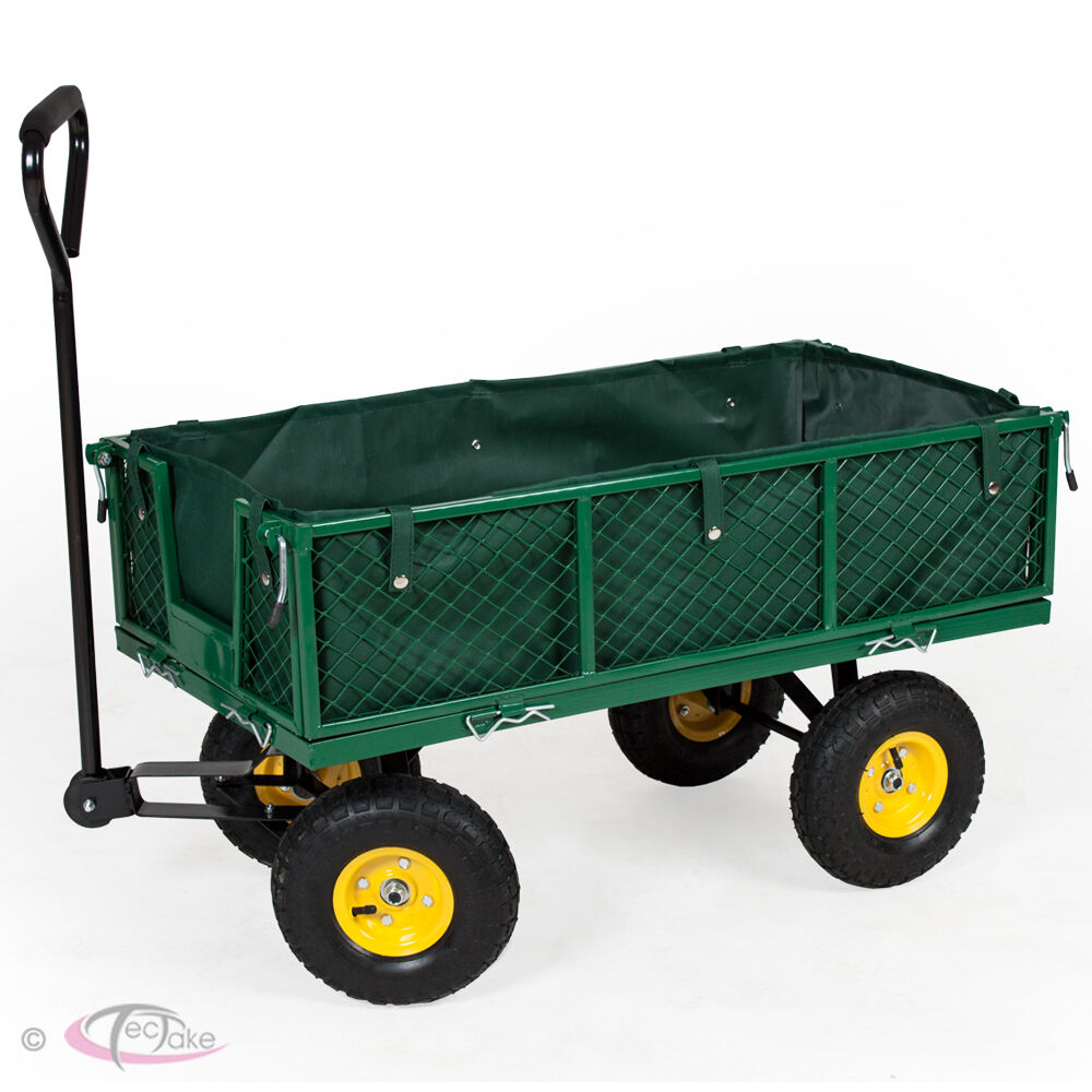 Heavy duty wheelbarrow garden mesh cart trolley utility for Brouette de jardin 4 roues