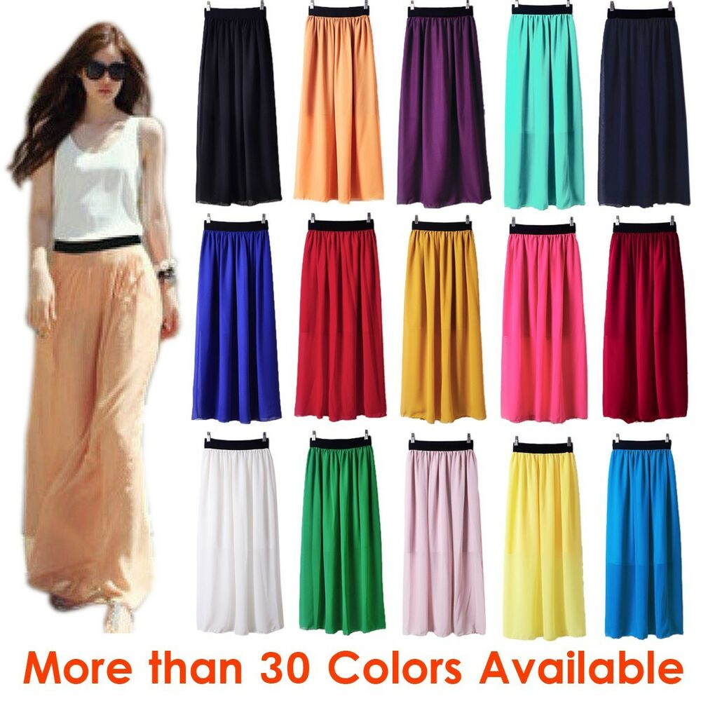 Women Double Layer Chiffon Pleated Retro Long Maxi Dress ...