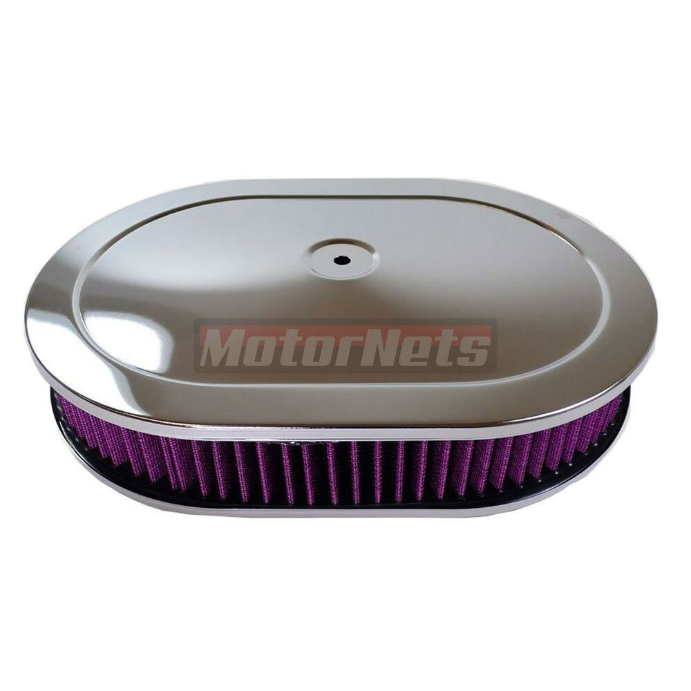 Breather Air Cleaner : Quot washable chrome oval hot rod breather air cleaner