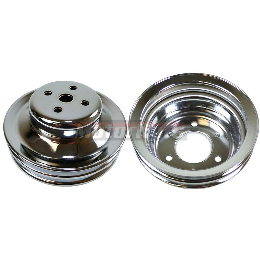 SB Ford Chrome 2 Groove Upper 2 Groove Lower Pulley Kit 65