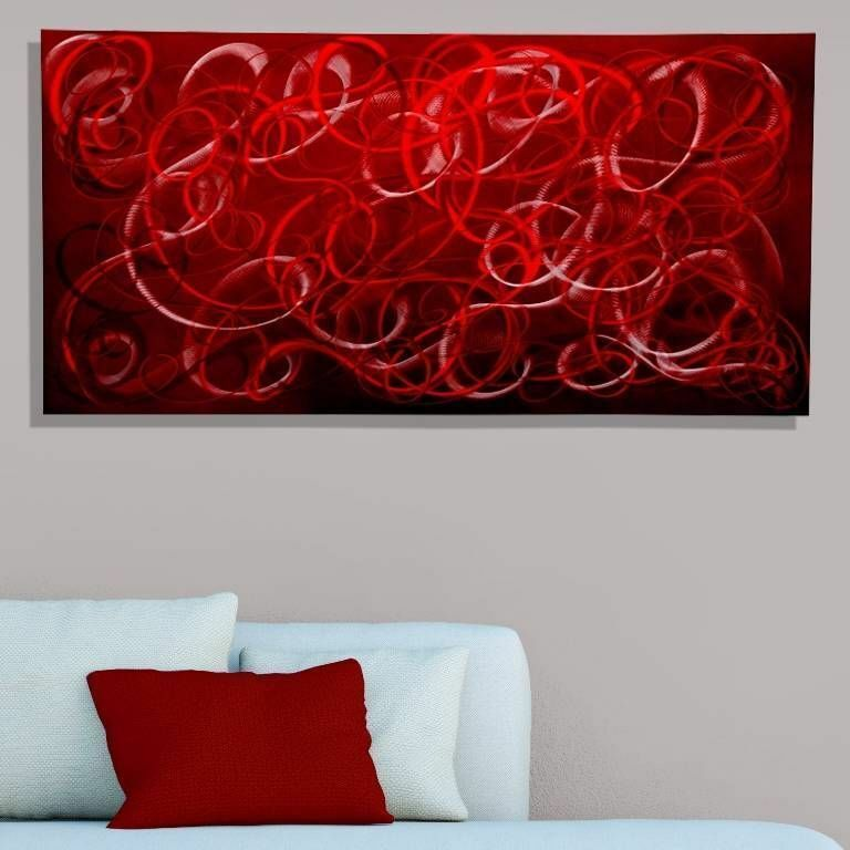 Modern metal wall art red contemporary home decor for Red modern decor
