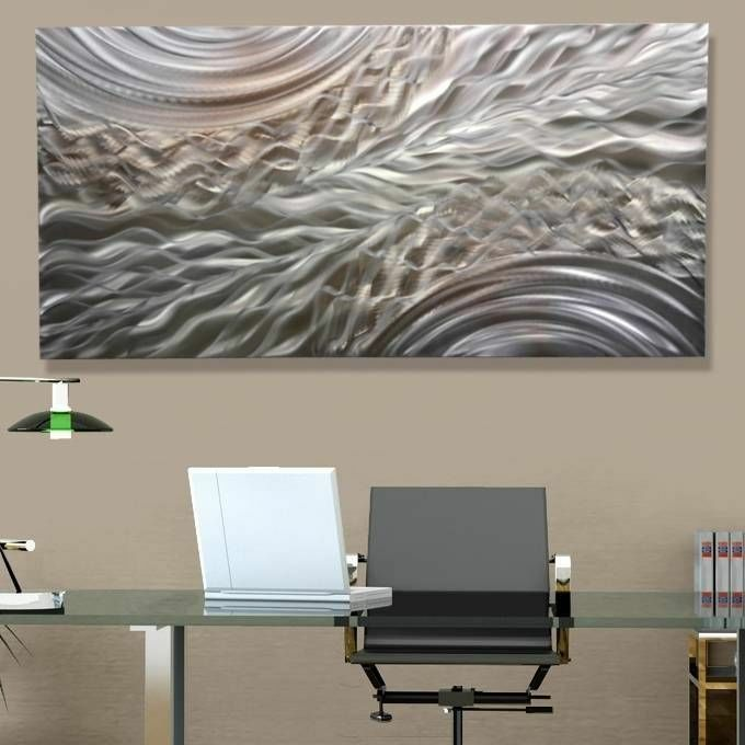 Silver Accent Modern Metal Wall Art Contemporary