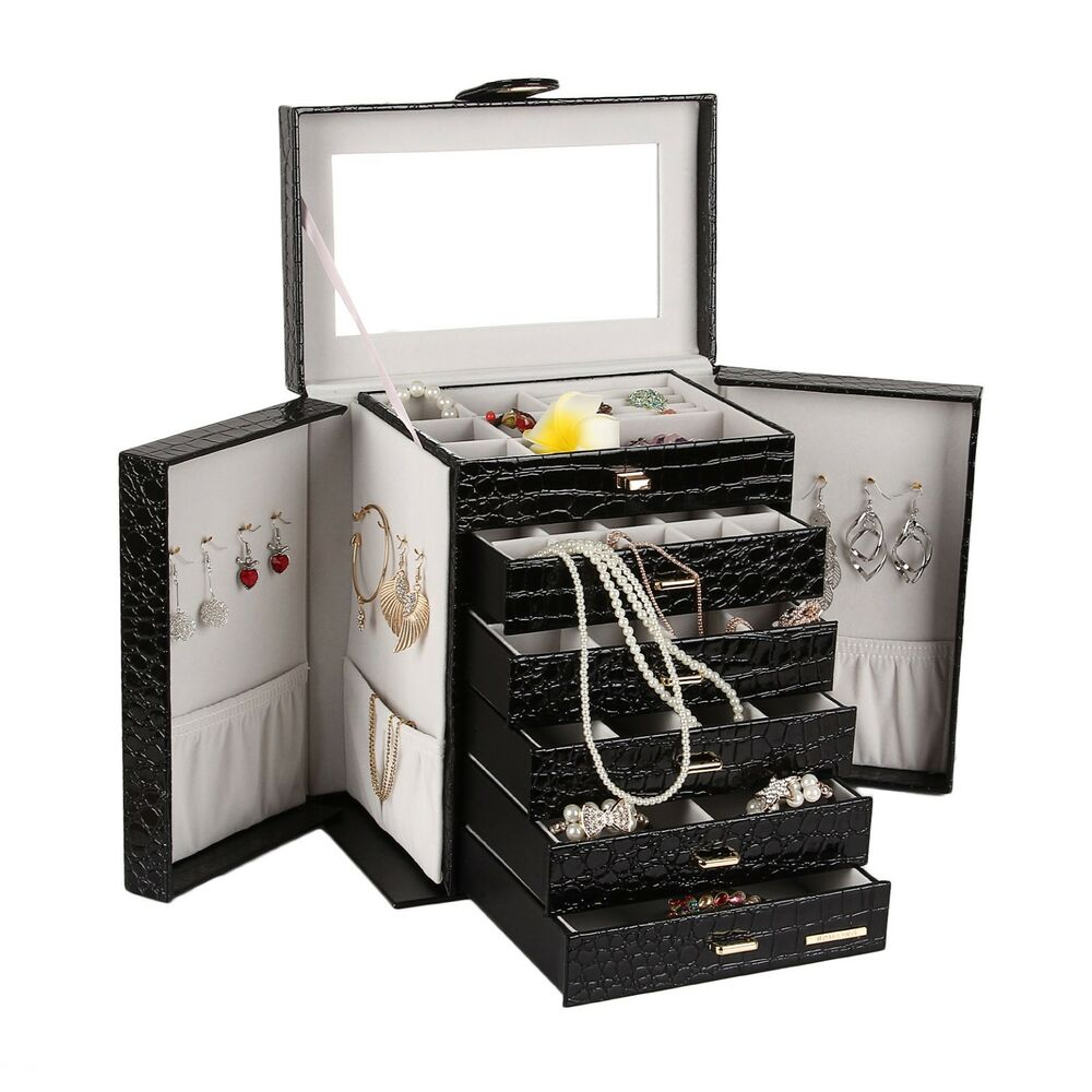 Extra Large Jewelry Watch Box Cabinet Armoire Ring Organizer Chest 6 ...