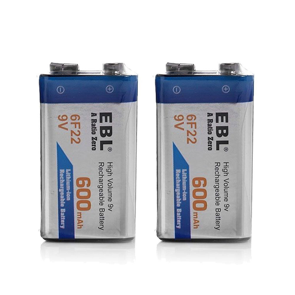 2 pack 9v 6f22 9 volt pp3 block 600 mah lithium ion rechargeable batteries ebay. Black Bedroom Furniture Sets. Home Design Ideas