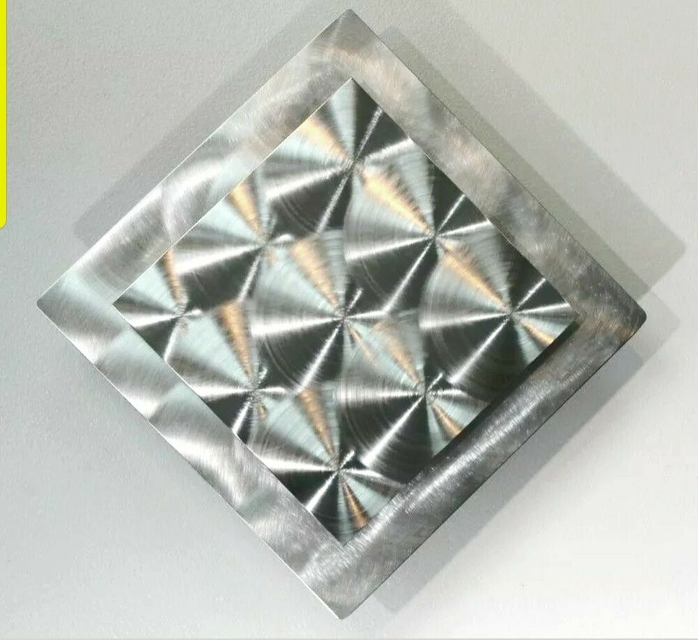 Silver Modern Metal Wall Art Accet, Abstract Square Decor ...