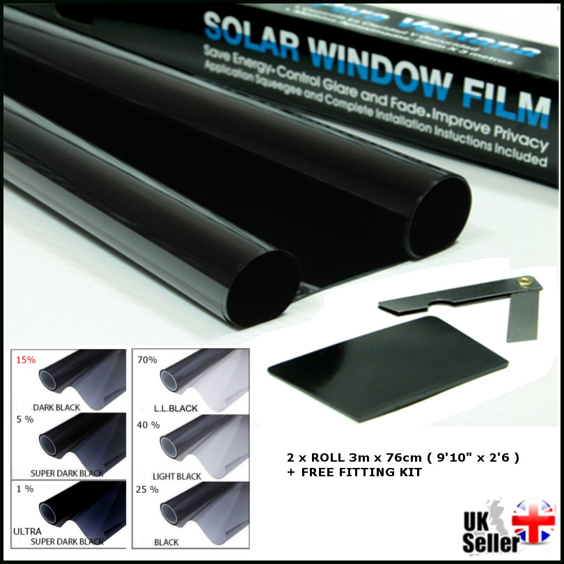 Dark black 15 light transmission car window tinting film for Window tint film