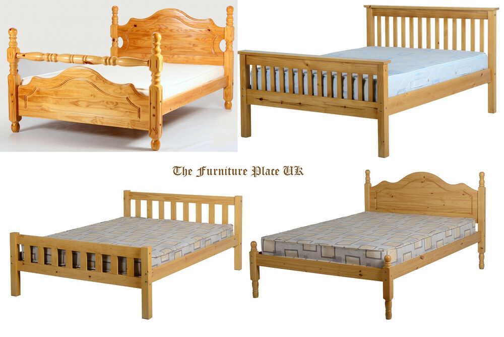 Pine double bed 4 39 6 135cm solid pine wood low end high bed for Low height single divan bed