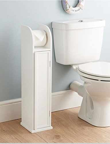 bathroom toilet paper roll holder floor standing storage cabinet white wooden ebay. Black Bedroom Furniture Sets. Home Design Ideas