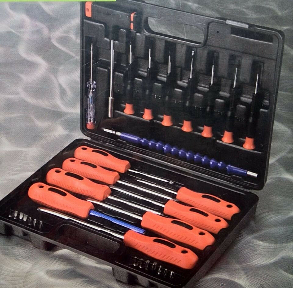 32 pc screwdriver set w plastic case soft grip handles heavy duty carbonsteel ebay. Black Bedroom Furniture Sets. Home Design Ideas