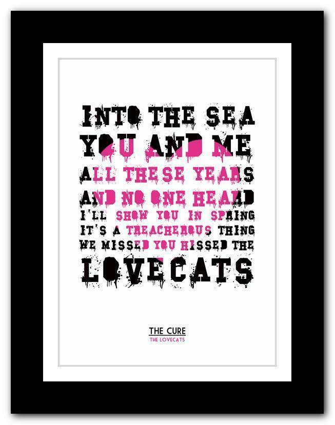 79abfedf1dc THE CURE The Lovecats ❤ song lyrics typography poster art print - A1 A2 A3  or A4
