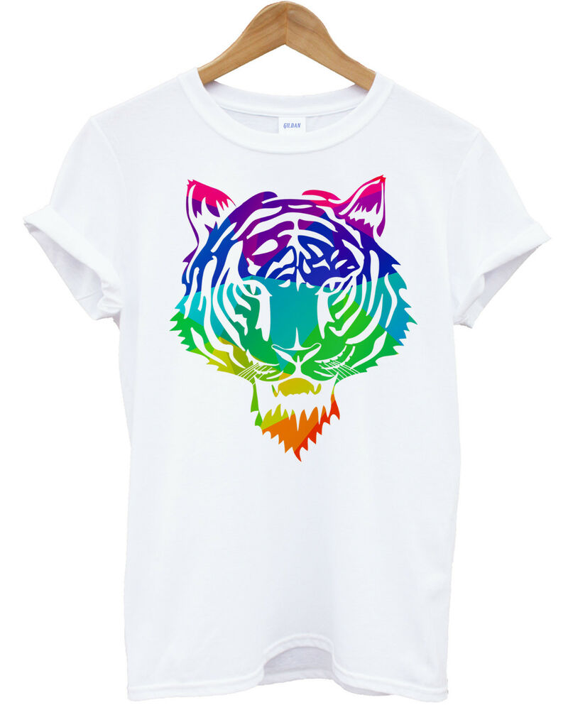 geometric tiger head t shirt hipster swag color animal