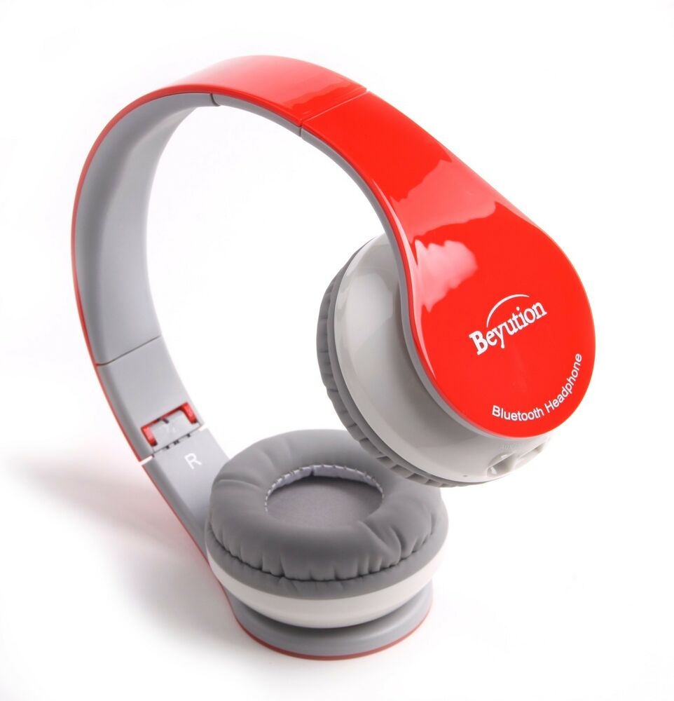 red over ear bluetooth headphones headset for mobile cell phone laptop pc tablet ebay. Black Bedroom Furniture Sets. Home Design Ideas