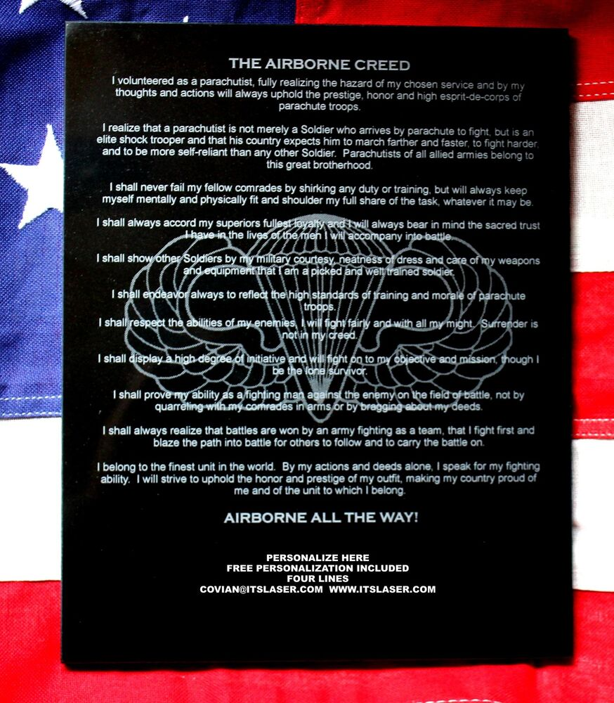 Personalized Laser Engraved Airborne Creed Granite Plaque