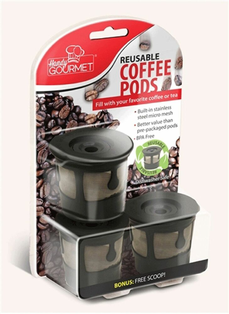 3x Reusable Coffee Pods Handy Gourmet Stainless Steel Mesh