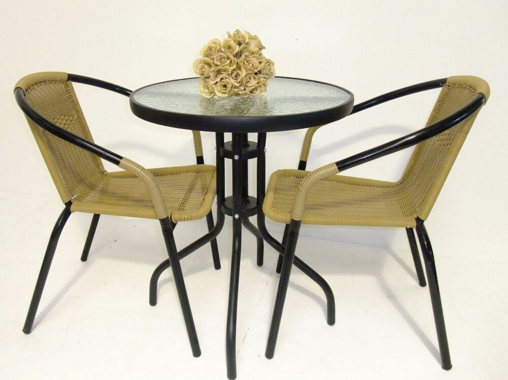 3pc faux rattan bistro set chair and glass table garden patio black or natural ebay. Black Bedroom Furniture Sets. Home Design Ideas
