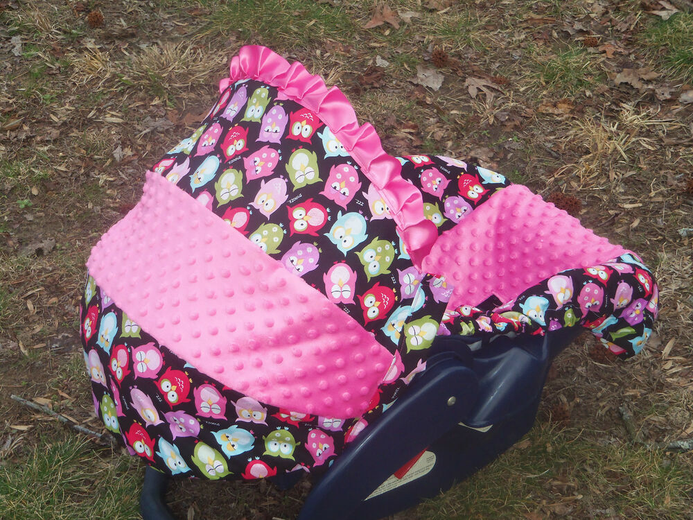 pink minky owl baby infant car seat cover graco mod owl evenflo baby trend ebay. Black Bedroom Furniture Sets. Home Design Ideas